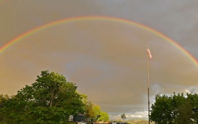 Rainbow over Eugene, Oregon sky.